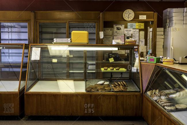 Tabor, South Dakota, USA - July 13, 2016: Display inside doughnut shop with baked goods for sale