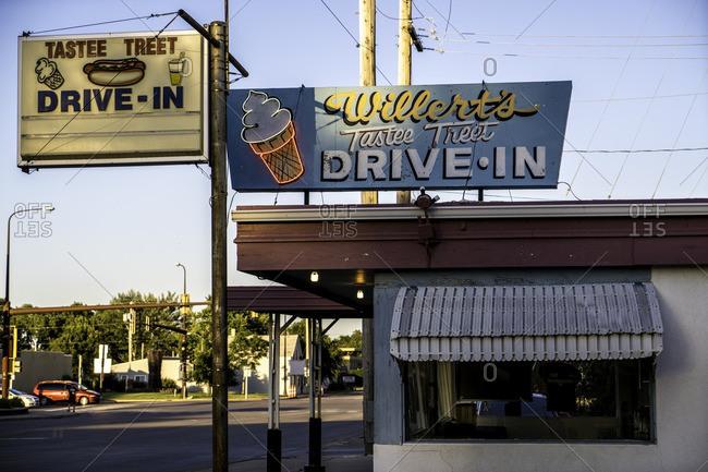 Yankton, South Dakota, USA - July 15, 2016: Vintage sign outside drive-in restaurant