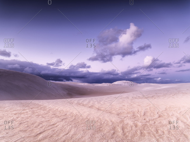Sand dunes and mauve sky at Cervantes