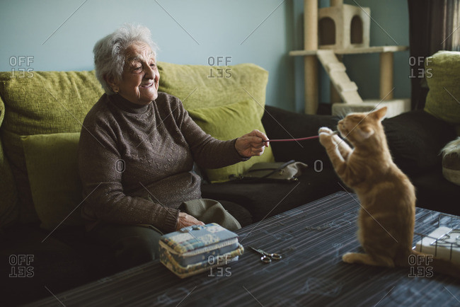Senior woman playing with her kitten at home