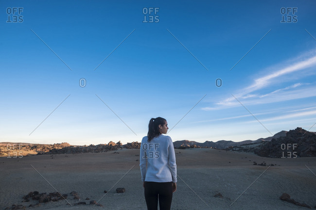 Young woman looking at desert