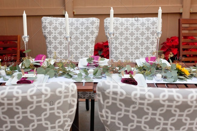 Table set for an outdoor Thanksgiving dinner party