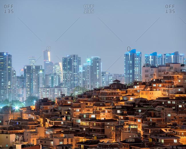 Seoul, South Korea - January 21, 2017: Skyline view of city from residential neighborhood in Seoul
