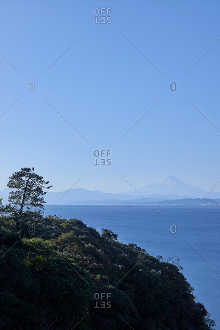 Mount Fuji and sea from a cliff in Enoshima, Kanagawa Prefecture, Japan