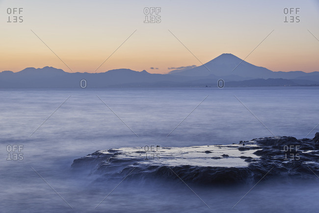 Mount Fuji and silky water after sunset from Enoshima, Kanagawa Prefecture, Japan