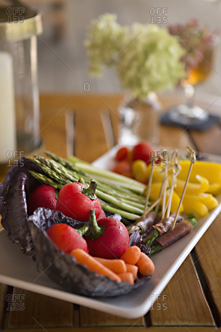 Vegetable snacks on a tray