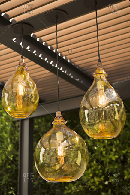 Light fixtures hanging outside