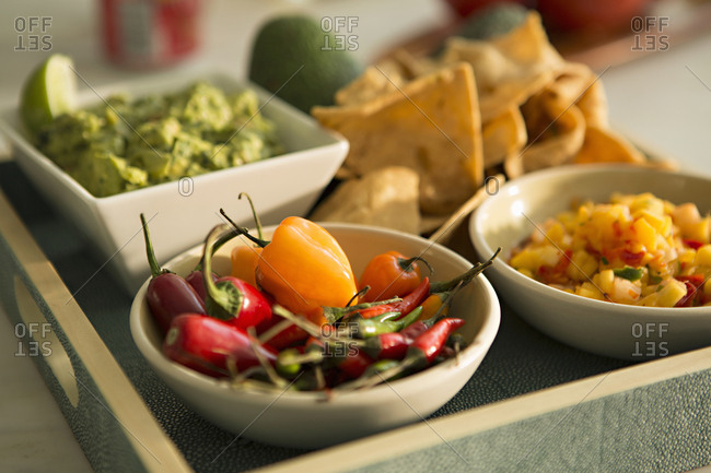 Spicy peppers with salsas