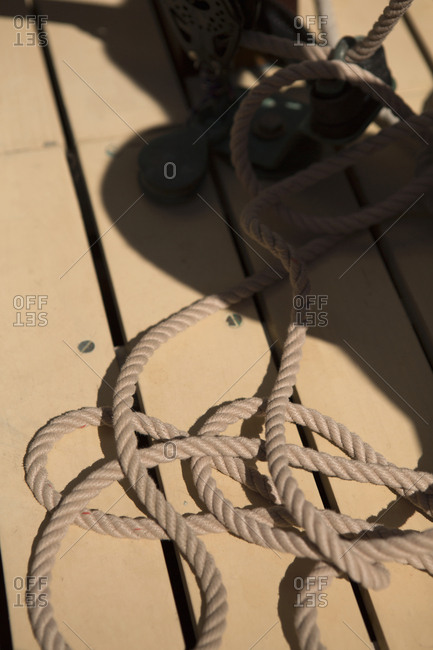 A rope on a wood deck