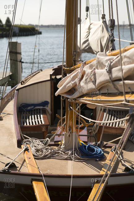 Deck of a sailboat on coast