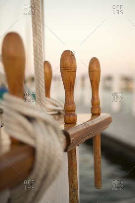 Sailing ropes on side of boat