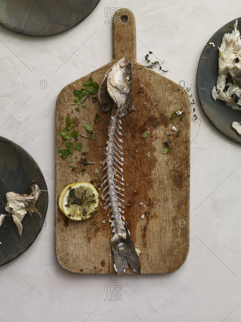 Fish carcass on cutting board with flesh removed