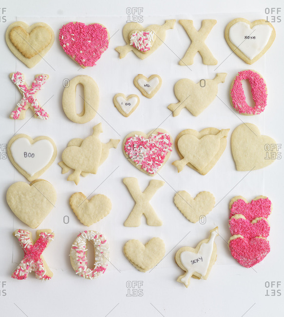 Valentine's Day sugar cookies decorated with sprinkles and messages