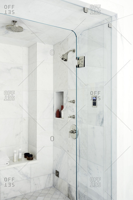 Beverly Hills, California - January 0, 1900: Glass walled modern shower area