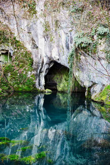 Natural spring cave in Serbia