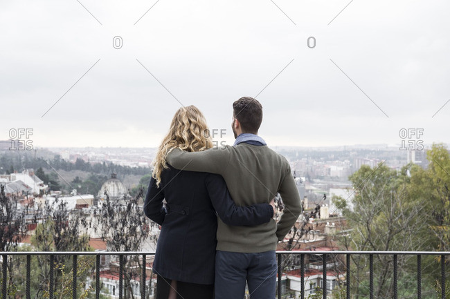 Spain- Madrid- couple looking at the city
