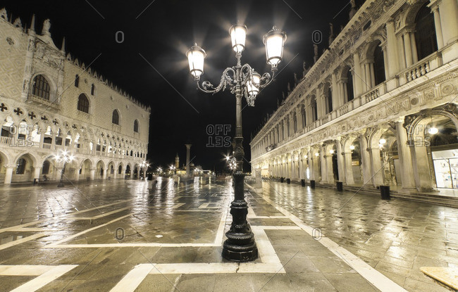 Italy- Venice- deserted St Mark's Square at night
