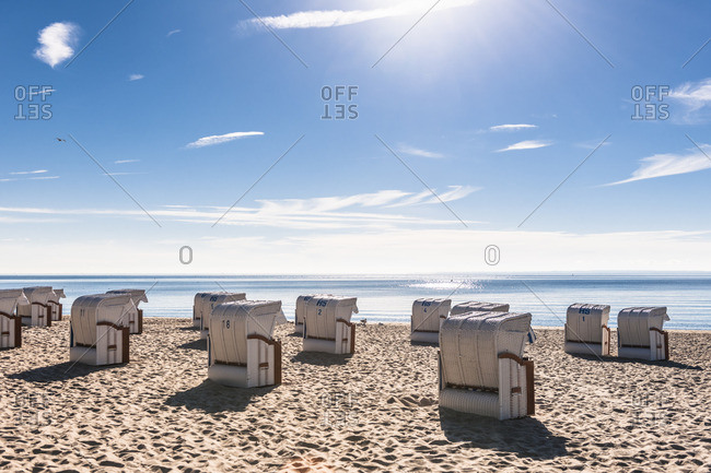 Germany- Schleswig-Holstein- Bay of Luebeck- hooded beach chairs on the beach