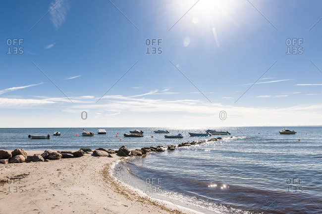 Germany- Schleswig-Holstein- moored motorboats on Baltic Sea