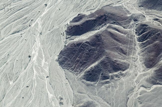 Peru- Nazca- Aerial view of geoglyphs of Nazca- The Astronaut