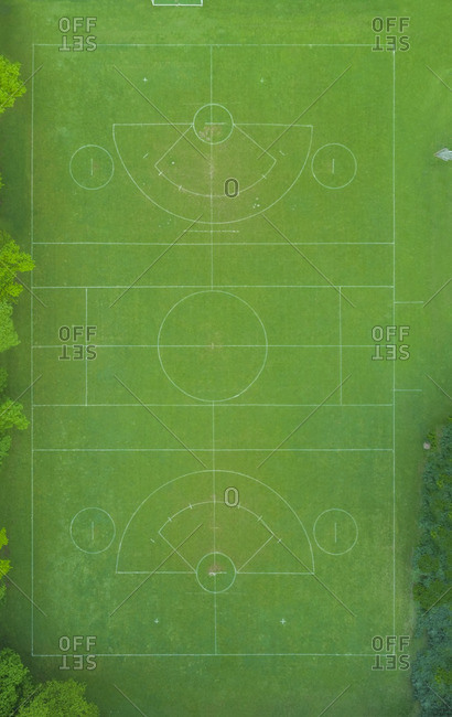Empty Lacrosse playing field- top view
