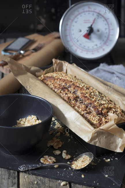 Home-baked banana bread with walnuts