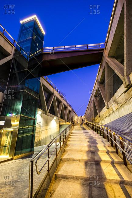 Metro station in Sants district in Barcelona, Catalonia, Spain