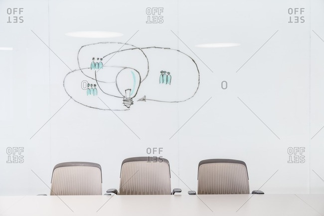 Modern office conference room with drawing representing ideas