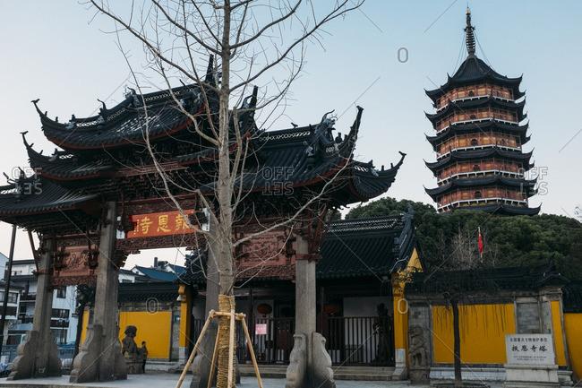 January 14, 2017 - Suzhou, China: Beisi Pagoda and garden gate
