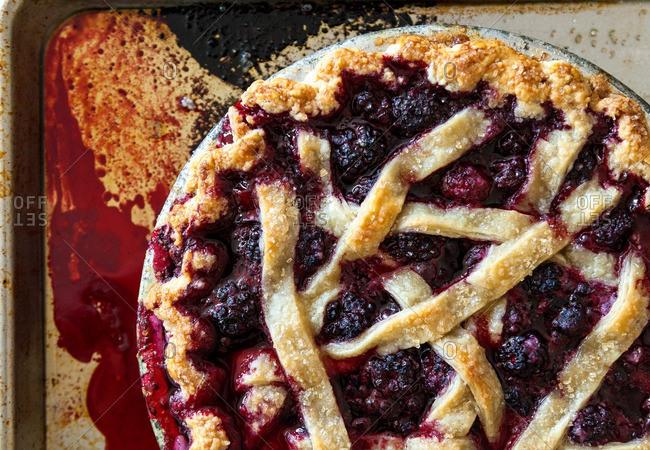 Overhead view of raspberry pie