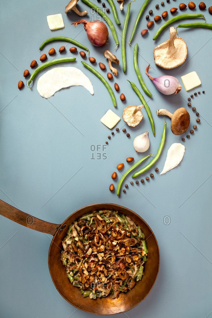 Arrangement of ingredients for green bean casserole with pan