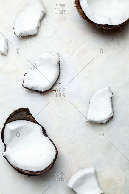 Chunks of coconut on white background