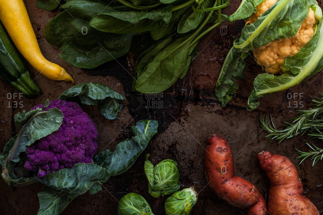Arrangement of colorful fresh vegetables on rustic background