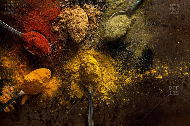 Arrangement of spoons of powdered spices