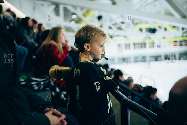 Boy watching a hockey match
