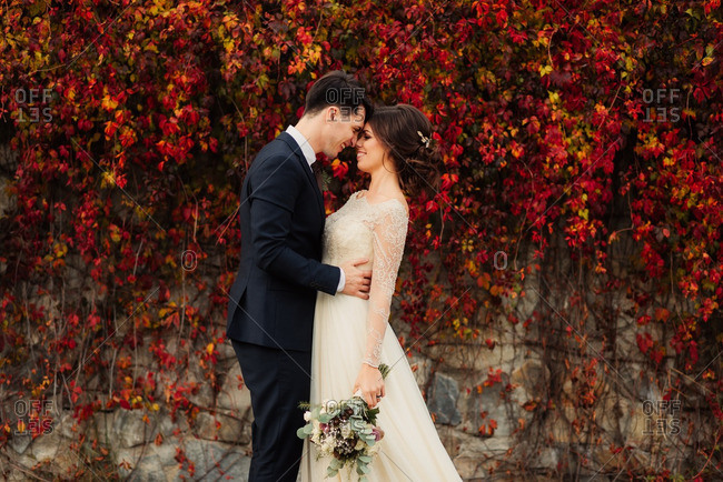 Bride and groom embraced by colorful fall vines