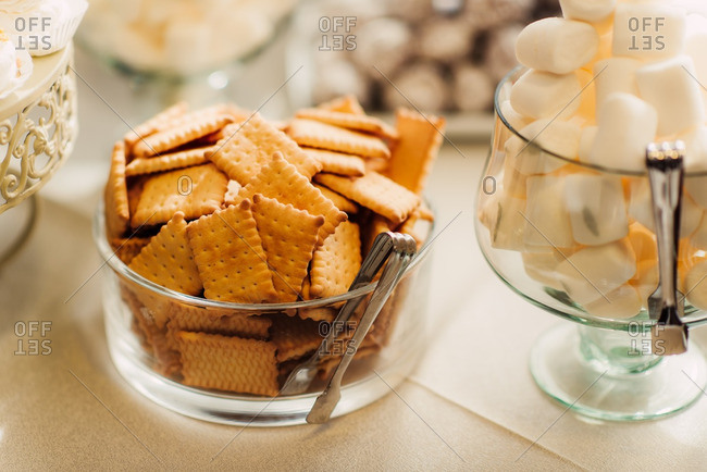 Close up of snacks at a wedding reception