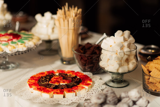 Snack table at a wedding reception