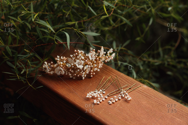 Gold and beaded bridal hair accessories