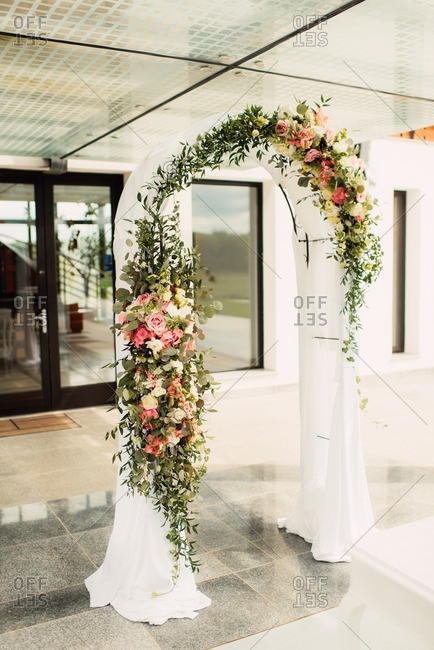 Arbor decorated with flowers for wedding