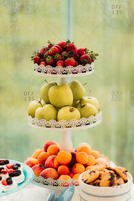 Fruit on a snack table at a wedding reception