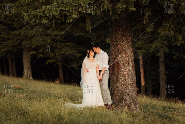 Bride and groom holding hands underneath a large tree