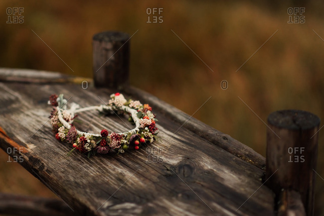 Floral crown on a wooden board