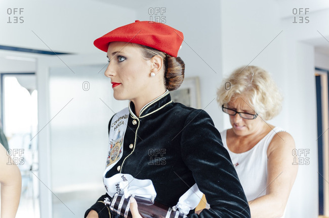 Hondarribia, Spain - September 8, 2014: Hondarribia Alarde�s Cantinera emotional moment getting dressed