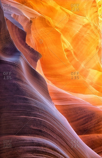 Colorful striated rock in Antelope Canyon