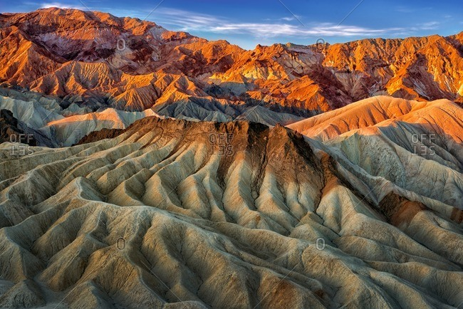 Eroded mountain ridges in the sunset at Zabriskie Point, Death Valley