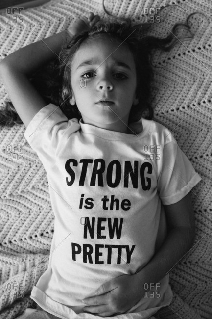 Girl wearing inspirational T-shirt - from the Offset Collection