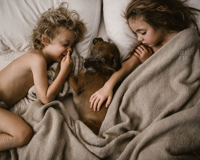 Kids napping with a dog