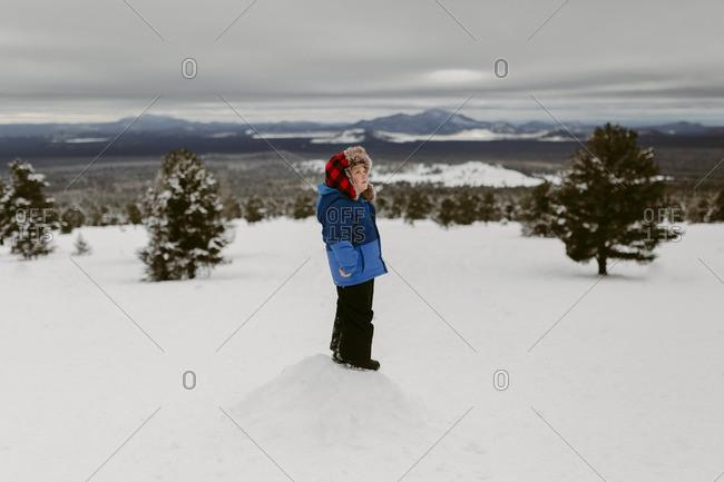 Boy on snowy mountain hill