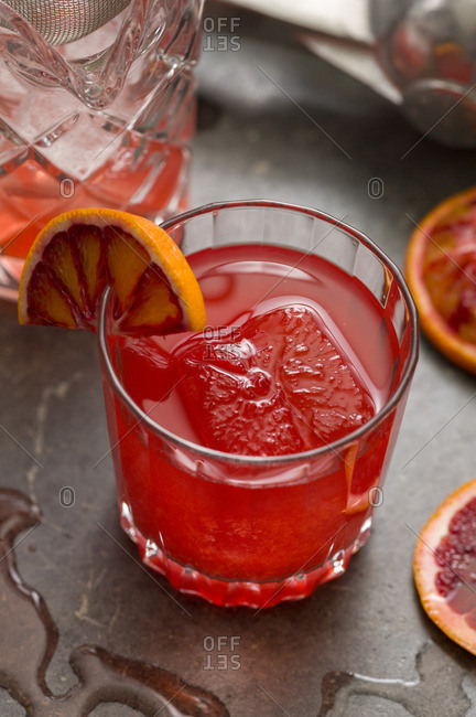 Overhead view of blood orange & rye cocktail